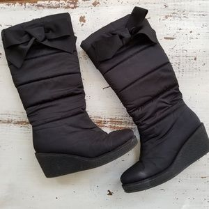 Kate Spade Black Cagney Quilted Wedge Snowboots
